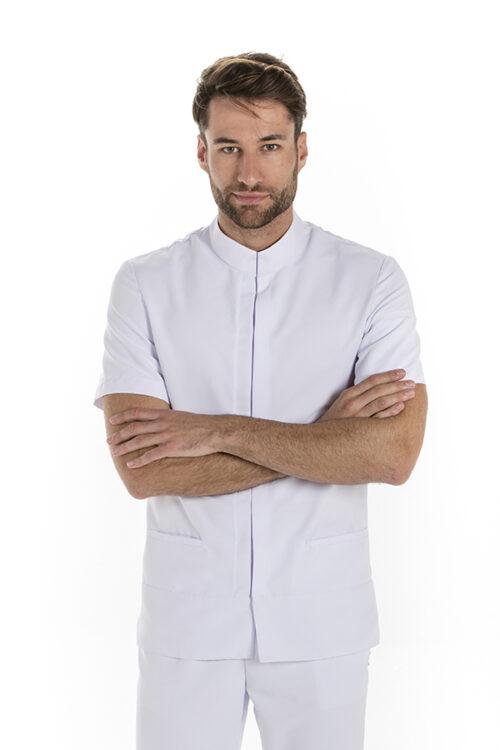 Chaqueta para hombre m/c de microfibra con cuello tirilla cerrado