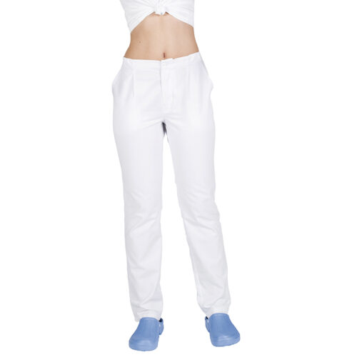 Pantalón unisex cremallera y bolsillos blanco GARY'S