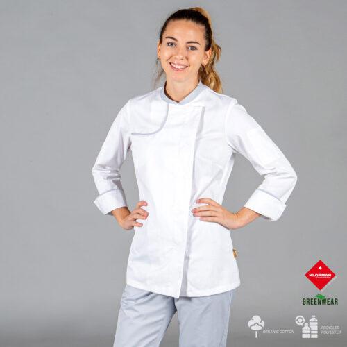 Chaqueta de cocina para mujer Anaya de tejido reciclado y orgánico klopman