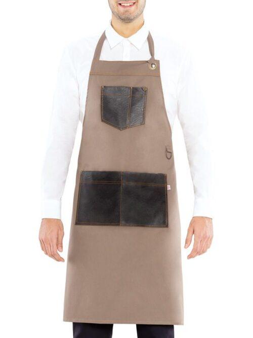 Delantal beige y marrón  3 bolsillos ajustable al cuello  GIBLOR'S