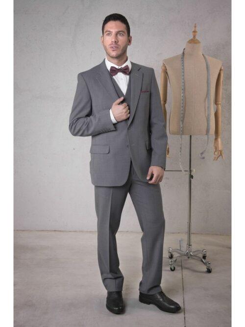 Pantalón traje caballero regular fit una pinza bolsillo francés, 2 bolsillos traseros TEXTIL R