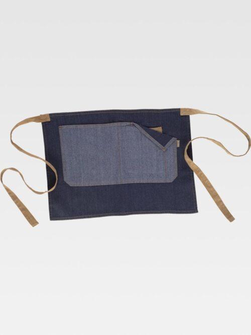 Delantal francés corto tejido vaquero combinado con canvas.  WORKTEAM