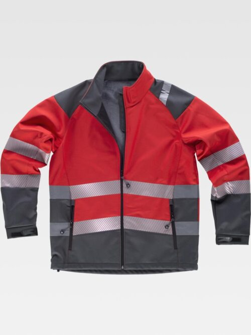 Chaqueta workshell naranja con cintas reflectantes WORKTEAM