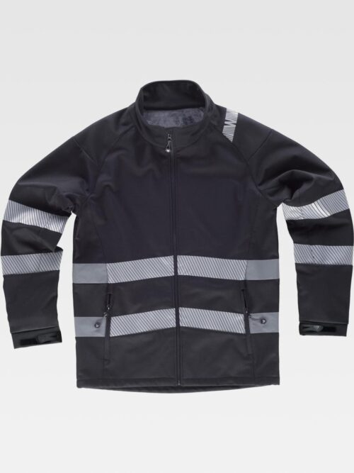 Chaqueta workshell negra con cintas reflectantes WORKTEAM