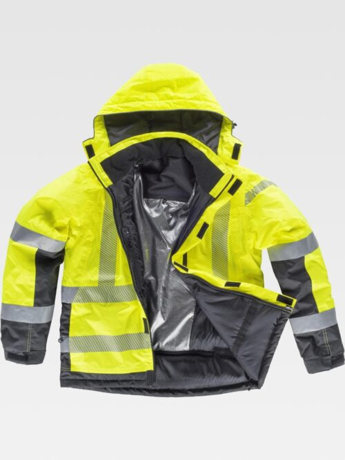 Chaqueta amarilla capucha workshell cintas reflectantes WORKTEAM