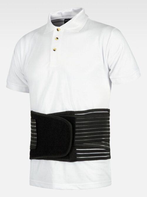 Cinturón lumbar con tensores elásticos, doble tracción regulable en abdomen WORKTEAM