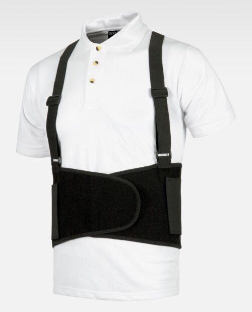 Cinturón lumbar con tirantes regulables, cuatro varillas dorsales, regulable abdomen WORKTEAM